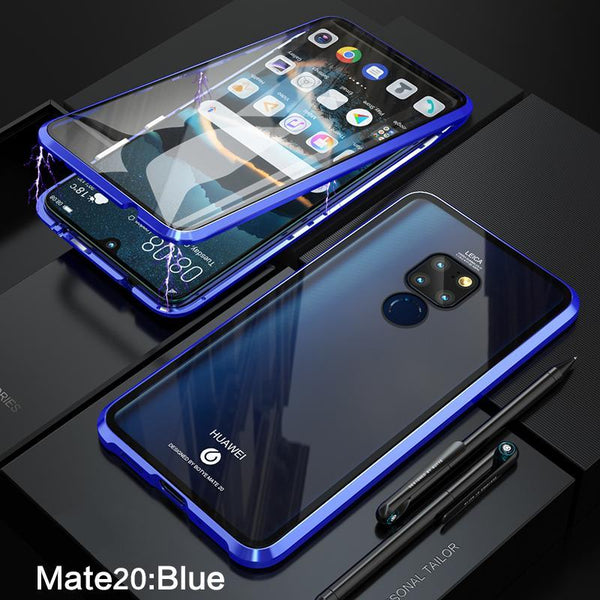 Luxury Magnetic Metal Aluminum Alloy Transparent Two Side Glass Cover Phone Case For HUAWEI Mate20