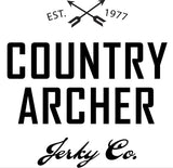 Country Archer beef jerky logo with crossed arrows at top and establish date of 1977