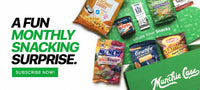 "mix of snacks displayed popping out of green munchie case subscription box with tagline text ""a fun monthly snacking surprise"""