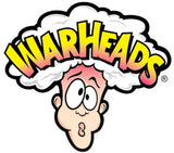 Warhead candy logo of cartoon man with puckered face and steam above head