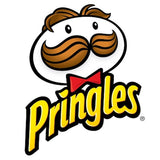 Pringles Chip logo yellow font and black outline cartoon mascot with brown hair and big brown mustache