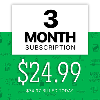 Price of snack subscription box for a three monthly delivery