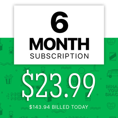 Price of snack subscription box for a six months for free delivery