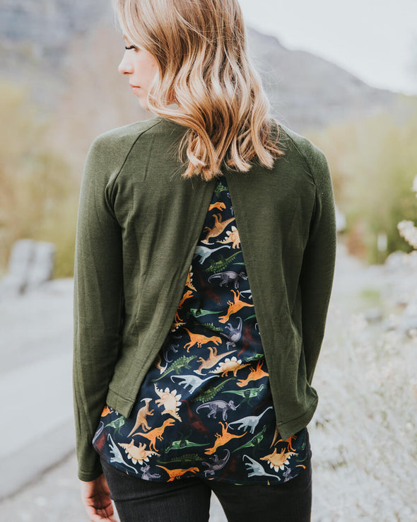 Dinosaur Open Back Sweater
