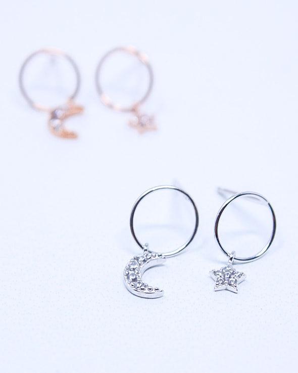 Circle Moon & Star Earrings