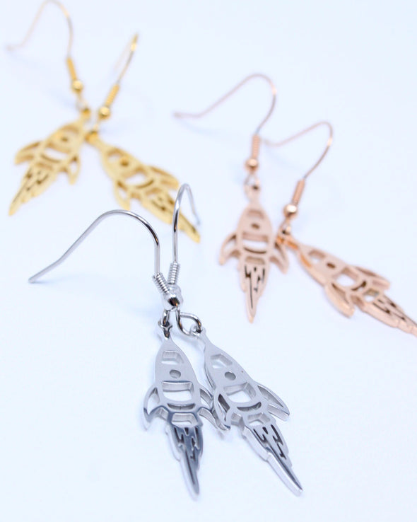 Rocket Ship Dangle Earrings
