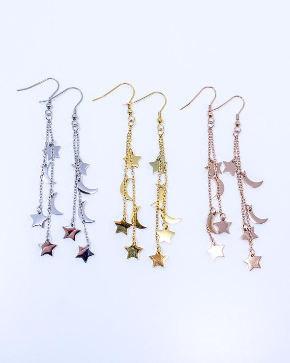 Prancing Moon & Star Earrings