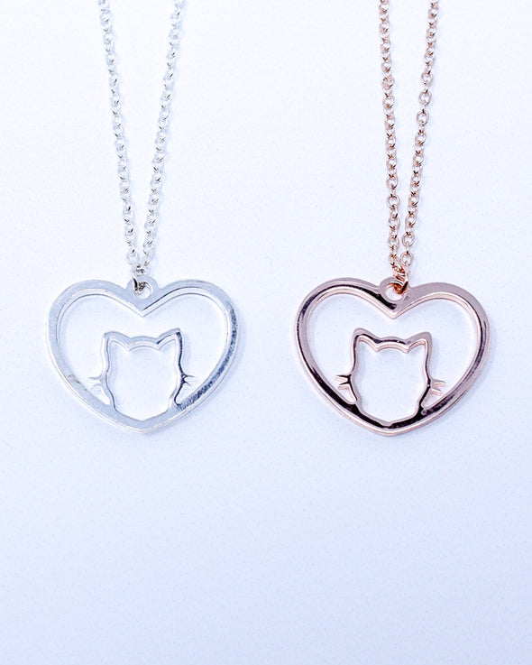 Cat in Heart Necklace