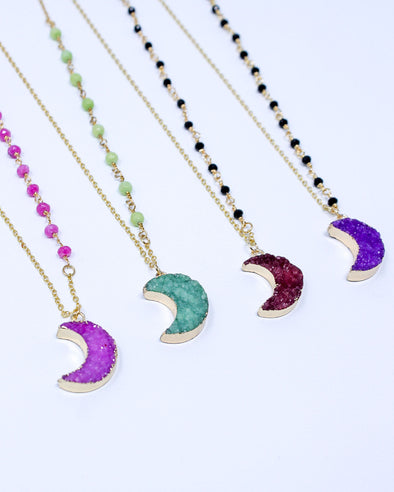 Druzy Beaded Moon Necklace