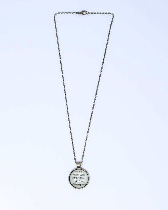 Quote Necklace - The Tempest - Hell is Empty