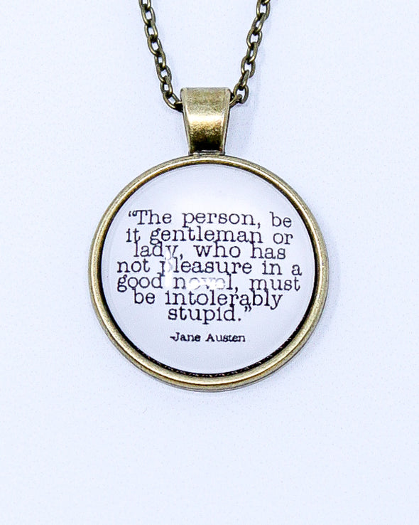 Quote Necklace - Northanger Abbey - Pleasure In A Good Novel