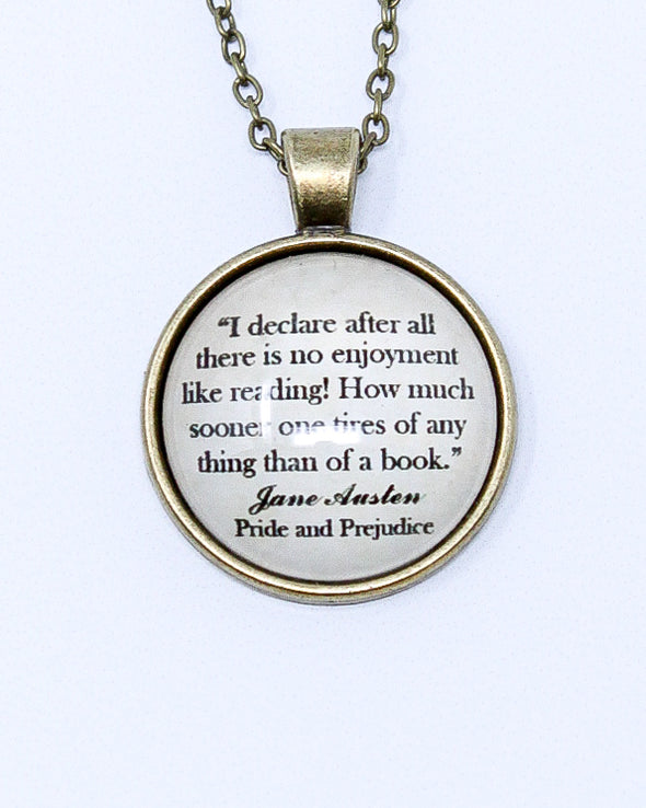 Quote Necklace - Pride & Prejudice - No Enjoyment Like Reading