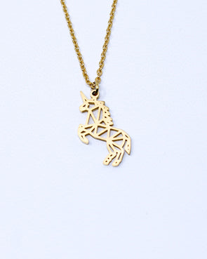 Tiny Geometric Unicorn Necklace