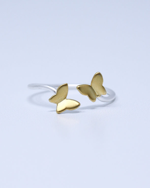 Golden Butterflies Ring
