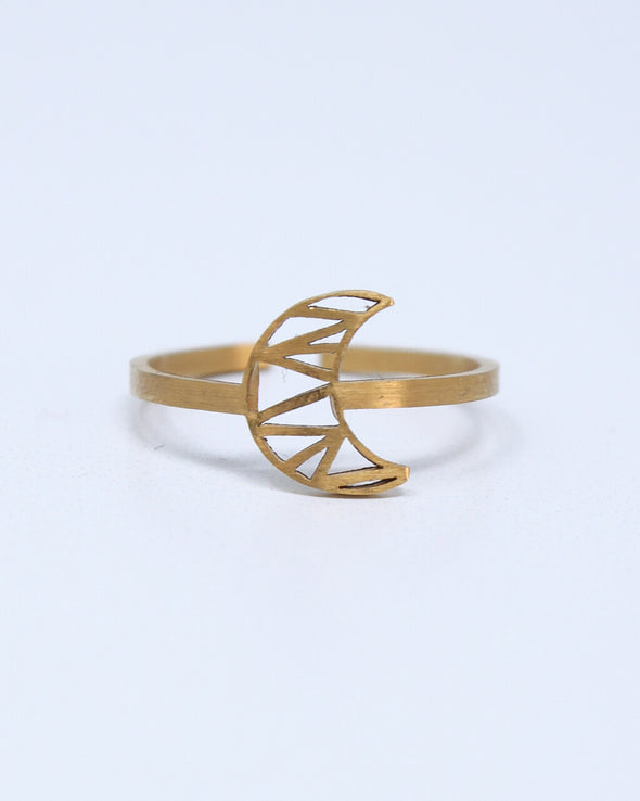 Geometric Moon Ring