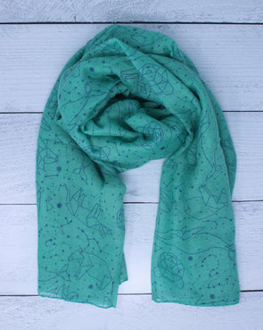 Constellation Animals Scarf - Mint