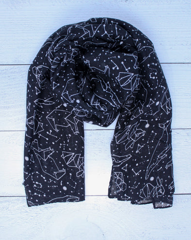 Constellation Animals Scarf - Black