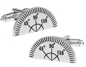 Protractor Cuff Links Round