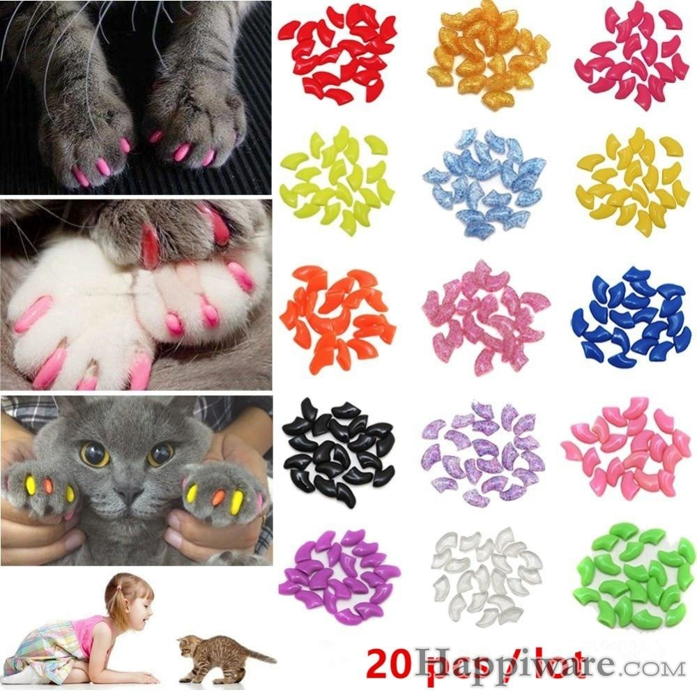 20 PCS Soft Silicone Cat Nail Caps