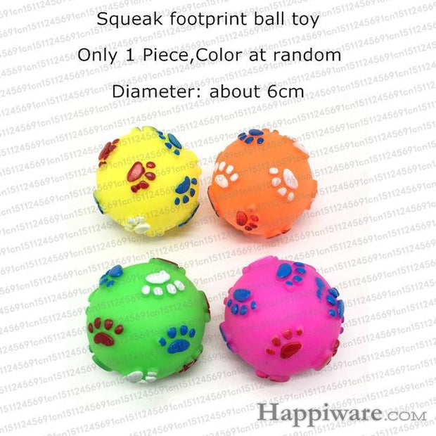 Rubber Squeak for Dog Screaming Chicken Chew Toys - footprint ball toy / Size as picture show