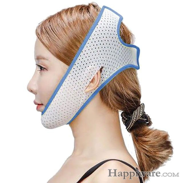 Slimming Belt V-Line Face Lifting Mask Bandage - Blue