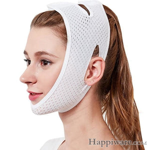 Slimming Belt V-Line Face Lifting Mask Bandage - White