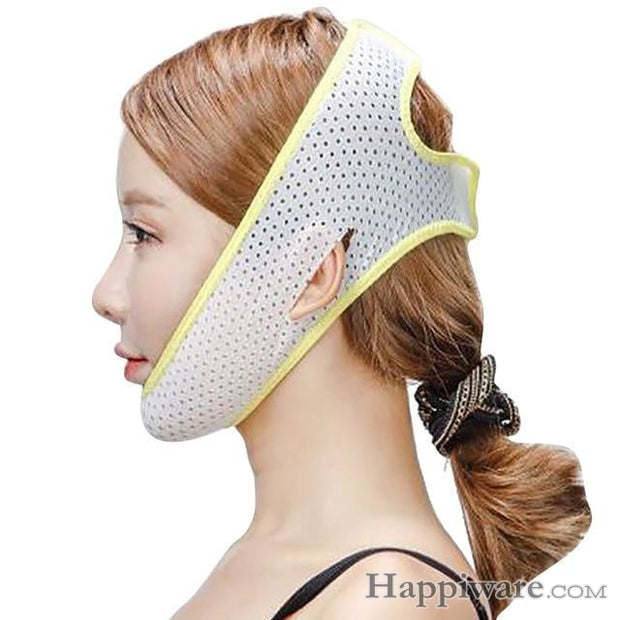Slimming Belt V-Line Face Lifting Mask Bandage - Yellow