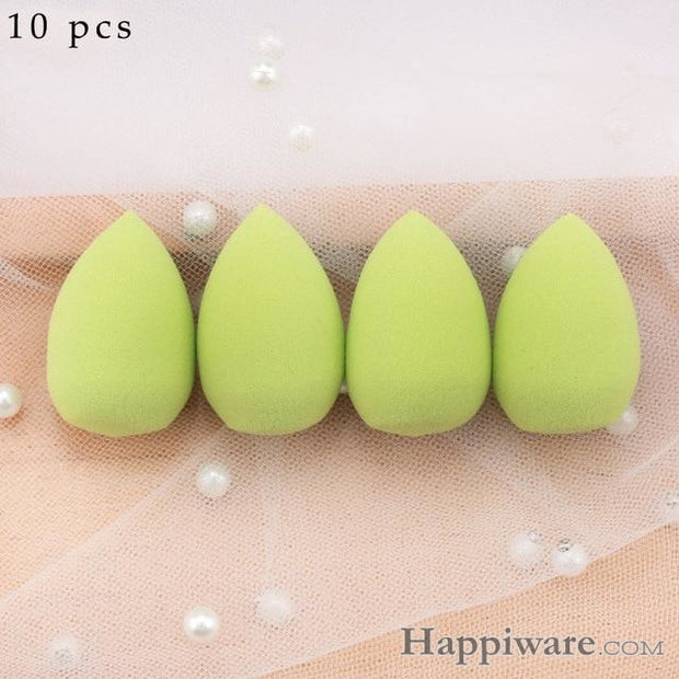 Soft Foundation Puff Concealer Cosmetic Makeup Sponge - Green 10pcs