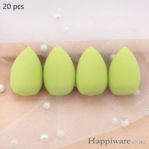 Soft Foundation Puff Concealer Cosmetic Makeup Sponge - Green 20pcs