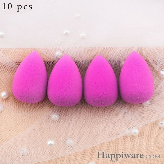 Soft Foundation Puff Concealer Cosmetic Makeup Sponge - Purple 10pcs