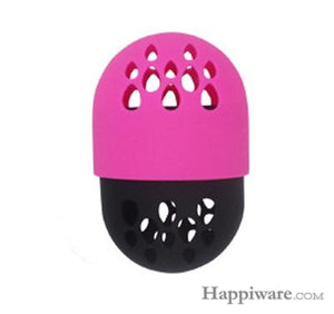Soft Silicone Powder Puff Drying Holder Egg Stand Beauty Pad - pink