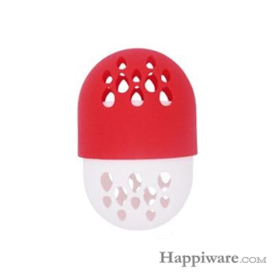 Soft Silicone Powder Puff Drying Holder Egg Stand Beauty Pad - red