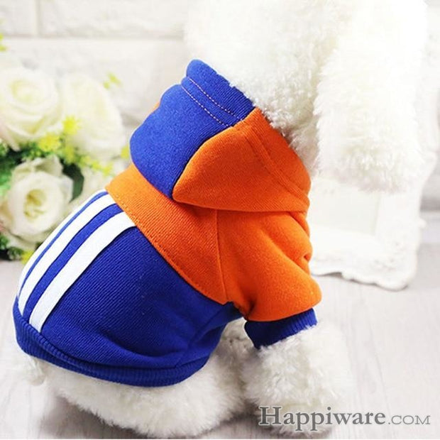 Soft Winter Warm Pet Dog Clothe - blue-orange / XXL
