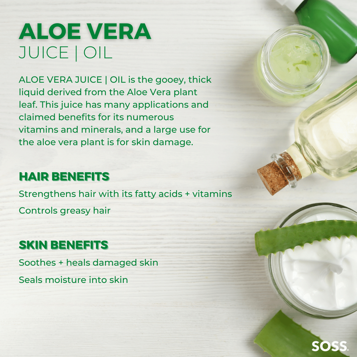 Aloe Vera Juice is a historic remedy used to soothe skin irritations and absorb moisture into hair follicles.