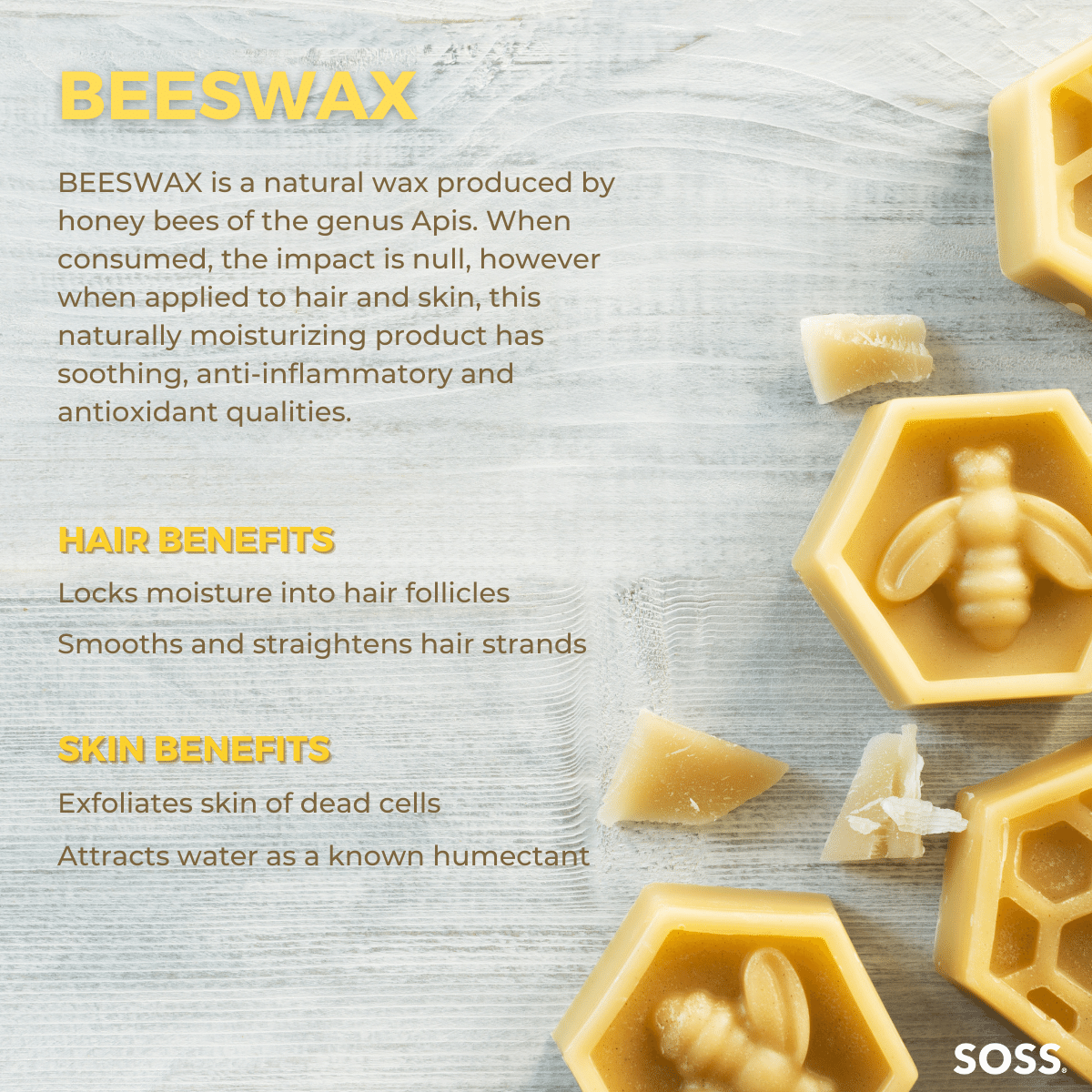 Raw Beeswax locks in moisture to the hair for added strength and softness.