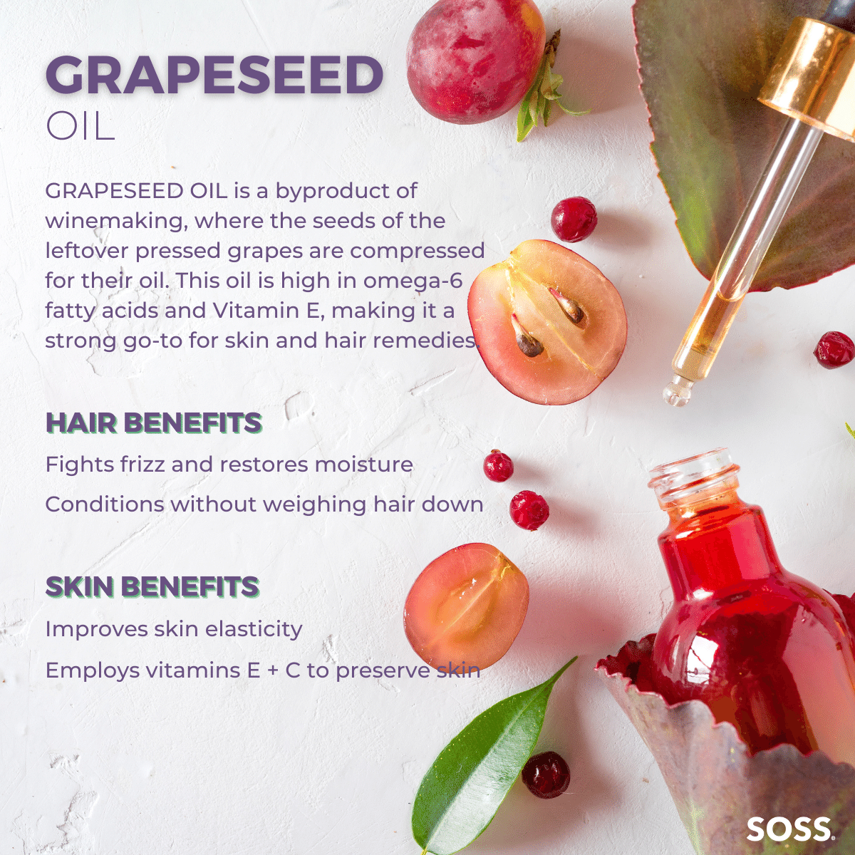 Grapeseed Oil is a nutrient-rich oil that moisturizes skin without a greasy feel.