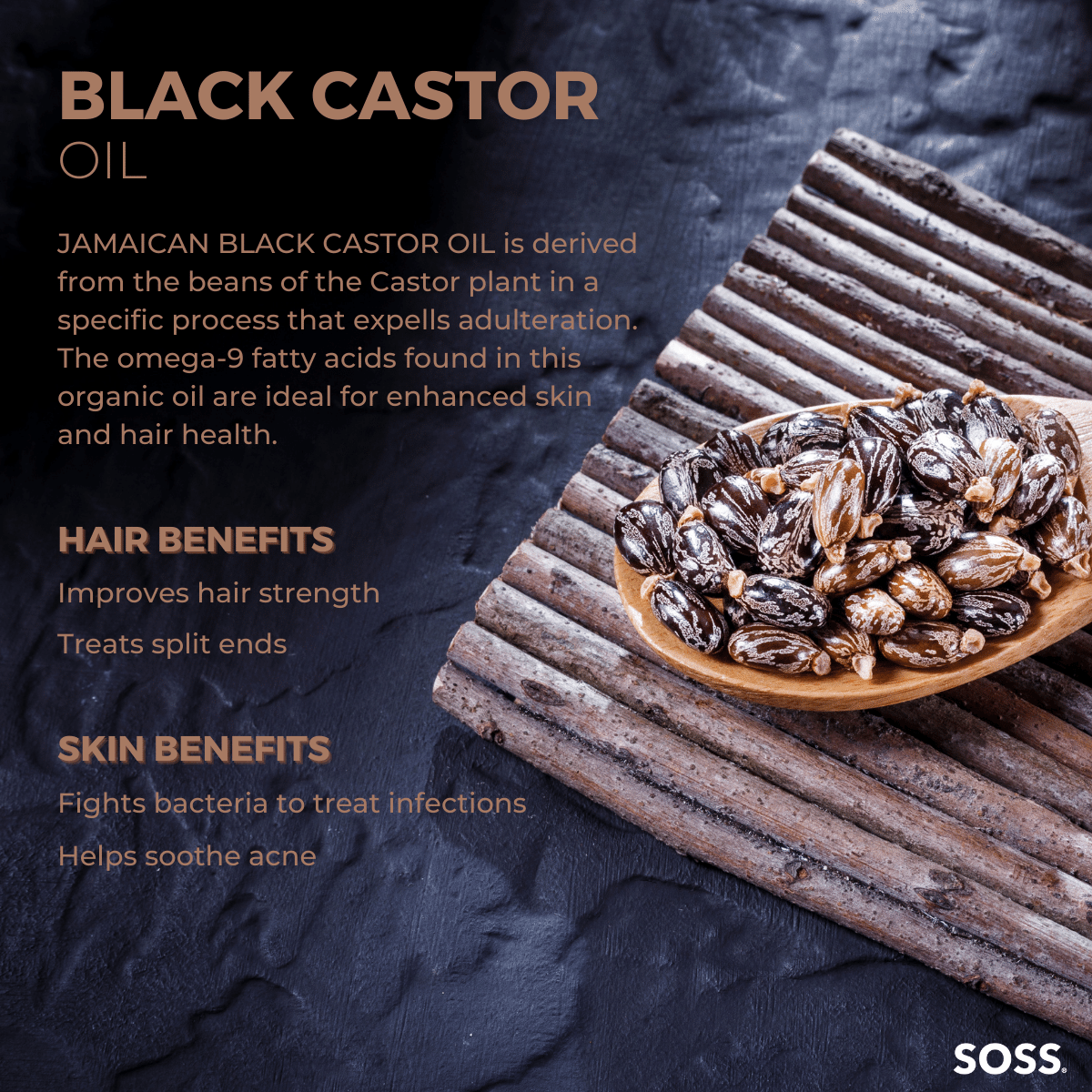 Jamaican Black Castor Oil is used for optimum hair growth and skin moisture.
