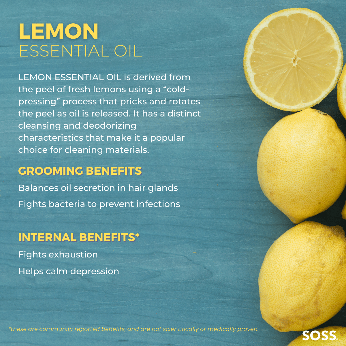 Lemon Essential Oil balances oil and prevents infections for oily hair and acne prone scalps.