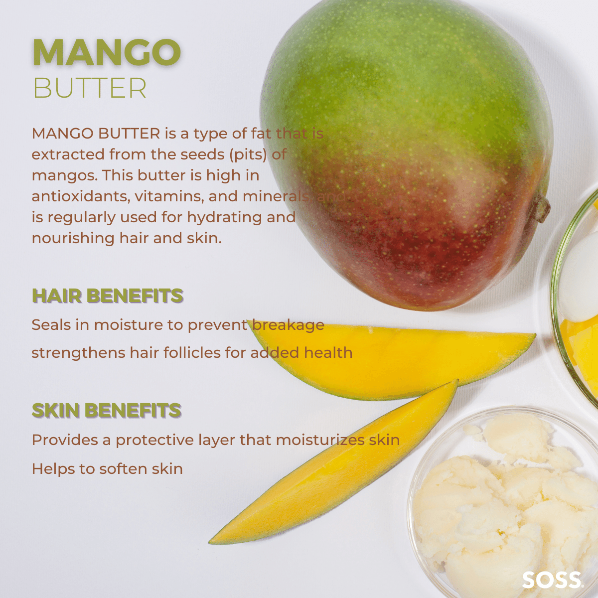 Mango Butter is a natural substance, high in fats, that prevents hair breakage.