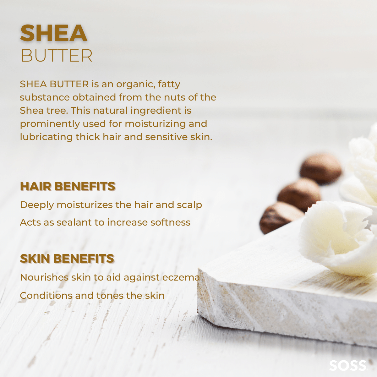 Shea Butter is a highly fatty substance used for added moisture to hair and skin.