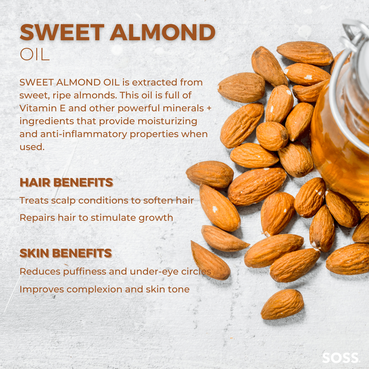 Sweet Almond Oil is used to moisturize hair and nourish skin.