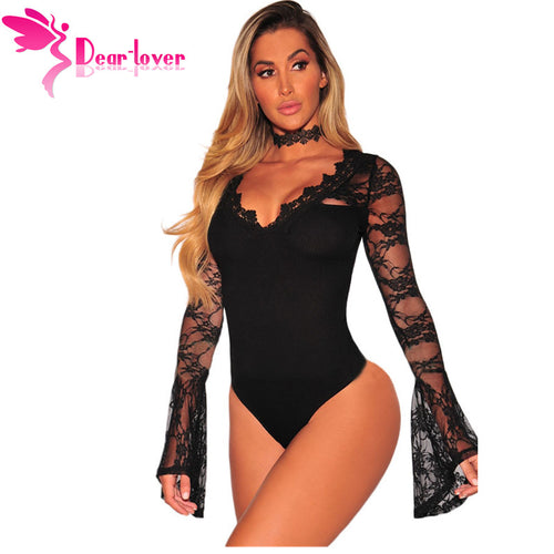 a411d0c0ea Dear Lover Bodysuits Women 2017 Autumn Sexy Black Lace V-neck Bell Long  Sleeves Bodycon