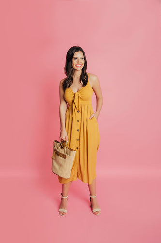 Instant Romance Button Down Dress - Mustard