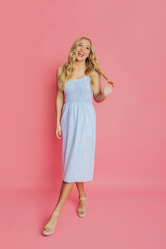 Blue Crush Smocked Dress