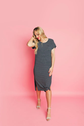 Polly T-Shirt Stripe Dress- Black