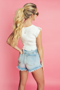 Drama Queen Smocked Top- White