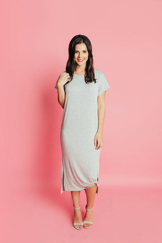 Polly T-Shirt Stripe Dress- Grey