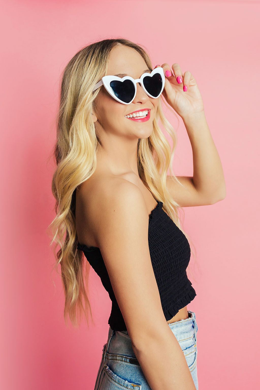 Endless Summer Smocked Crop Top - Black