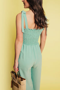 Resort Ready Smocked Jumpsuit - Moss