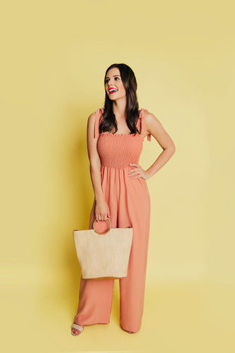 Resort Ready Smocked Jumpsuit - Light Coral